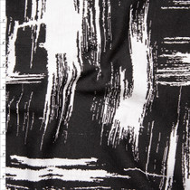 Black and White Grunge Brushstroke Designer Textured Double Knit Fabric By The Yard
