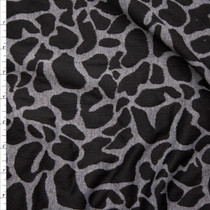 Black and Charcoal Leopard Inspired Designer Textured Double Knit Fabric By The Yard