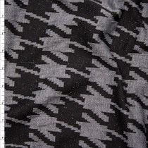 Black and Charcoal Houndstooth Designer Textured Double Knit Fabric By The Yard