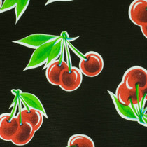 """Stella"" Cherries on Black Oilcloth"