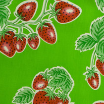 """Forever"" Strawberry Green Oilcloth"