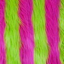 Pink/Green Striped Shag Faux Fur