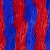 Red/Blue Striped Shag Faux Fur