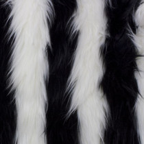 Black/White Striped Shag Faux Fur