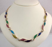 N-34 Colors.  Women's multi-stone necklace with 1.04tct set in 14kt yellow gold.  Stone inlay includes Lavulite, Lapis, Chrysoprase, Rhodinite, Turquoise, Gem Silica, and Lime Opalite.