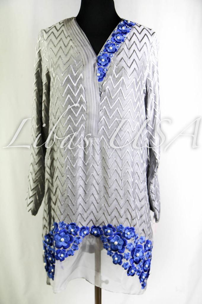 Amber Gohar Embellished Shirt Blue