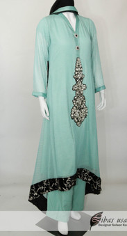 Sea Green Net Dress with Motif