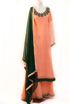 Peach and Green Chiffon Dress with Mukesh Work
