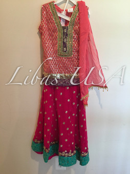 Pink Lengha Girls Outfit