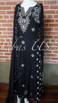 Black and Silver Fancy Aline Dress