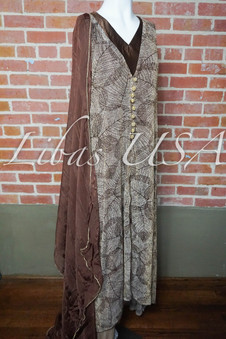Brown and golden jacket style dress