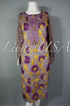 Cross Stitch Embroidered Top Purple