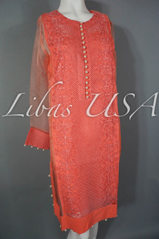Cross Stitch Embroidered Top Hot Coral