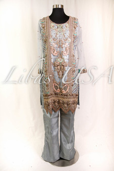 Bluish Grey Brocade and Net outfit