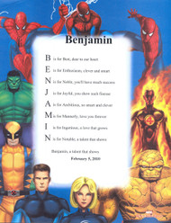 Personalized Marvel Heroes Name Poem