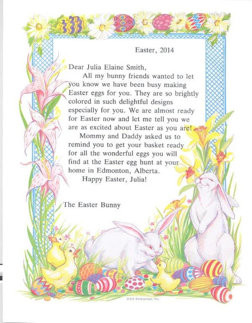 Easter Letter  Bunny  Personalized Story Books Canada