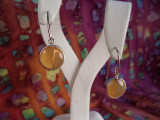Handmade Fire Opal Chalcedony Caboshon Earrings in 18k Yellow Gold