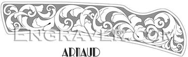 Low resolution watermarked image of a design by Arnaud for a folding knife (design 2)