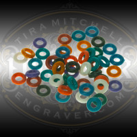 Pack of 50 EnSet Color Coded O-Rings for organizing gravers.  Assortment of 10 colors.