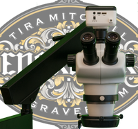 Engraver.com's TM50 Trinocular Microscope for jewelers, hand engravers and stone setters.  Comes complete with microscope, flex arm stand, LED Ring Light, 5MP camera and everything you need to connect it with a monitor or computer.