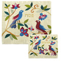 EM-MAS24 Raw Silk Matzah Cover -Birds White