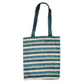 Blue Striped Applique Patches Bag (EM-PBL1B)