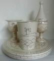 Karshi Ceramic 4pc Havdallah Set Jerusalem of Gold -Cream & Gold (HV-5954)
