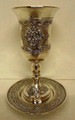 Karshi S/P Kiddush Goblet with Tray Flowers Design (KC-118-4)