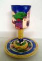 Karshi Ceramic Kiddush Goblet with Tray Jerusalem Design (KC-5900)