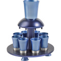 Anodized Aluminum Kiddush Fountain + Goblet + 8 Cups Blues (EM-FNM2)