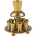 Anodized Aluminum Kiddush Fountain + Goblet + 8 Cups Gold (EM-FNM3)