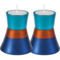 Anodized Aluminum Candlesticks Turquoise / Blue / Orange (EM-CMS6)