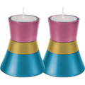 Anodized Aluminum Candlesticks Turquoise / PInk / Gold Small (EM-CMS7)