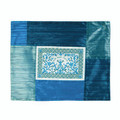 Patched Embroidered Challah Cover Shades of  Blue Papercut (EM-PCC7)