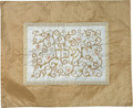 Embroidered Challah Cover Pomegranates Gold / White (EM-CMD3)