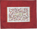 Embroidered Challah Cover Pomegranates Red / White (EM-CMD5)