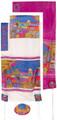 "Yair emanuel Hand-Painted Silk Tallit  - Jerusalem Gate 21"" x 77"" TS-3"