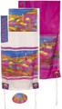 "Yair emanuel Hand-Painted Silk Tallit  - Jerusalem Vista color 21"" x 77""  TS-5"