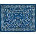 Machine Embroidered Challah Cover Paper Cut SILVER ON BLUE (EM-CME17BS)