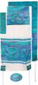 "Yair emanuel Hand-Painted Silk Tallit  - Jerusalem Vista blue  21"" x 77""  TS-6"
