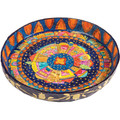 Paper Mache Bowl Jerusalem Colored ROUND-FLAT LARGE (EM-PM-9C)