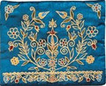 Embroidered Tallit Bag Gold ON BLUE (EM-TBC-16)