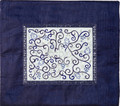 Embroidered Tallit Bag White on Blue (EM-TMD-1)