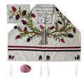 Yair emanuel Embroidered Raw Silk Tallit  - Tree of life - Pomegranates white TFA-11