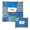 Embroidered Matzah Cover -Blue (EM-MMA3)