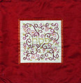 Embroidered Matzah Cover Pomegranates White on Red (EM-MMD5)