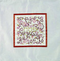 Embroidered Matzah Cover Pomegranates Red on White (EM-MMD6)