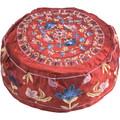 Embroidered Kippah FLOWERS MAROON (EM-HME-3M)