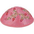 Embroidered Kippah Pomegranates PINK (EM-YME-6P)