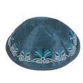 Embroidered Kippah Flowers BLUE (EM-YME-9B)